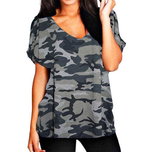 Donna Oversize baggy fit V Collo Alzare Maniche Corte allentato Batwing T-Shirt Top