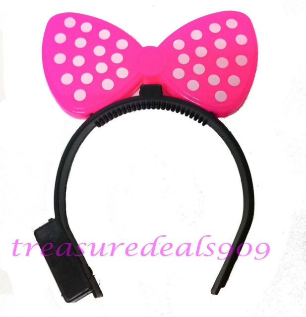 Buy 100 Pc Minnie Mickey Mouse Ears Led Light Up Bow Headbands