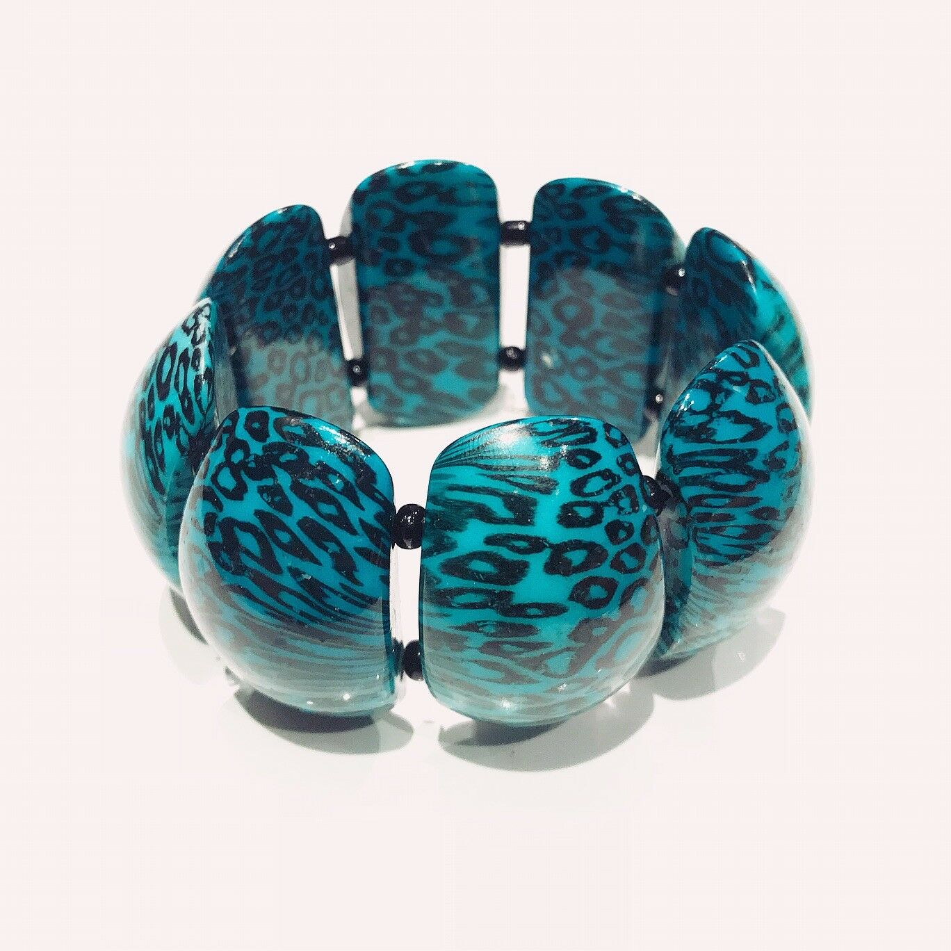 VINTAGE JEWELRY - 1980s Retro Patterned Turquoise… - image 2