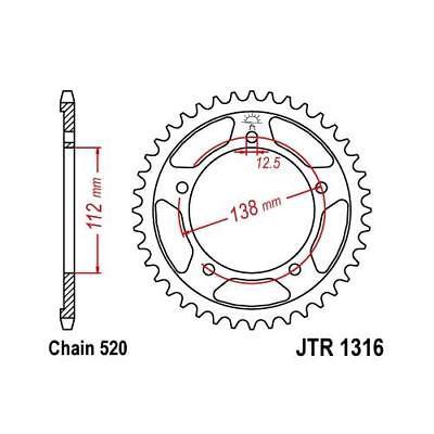 JT Rear Sprocket 41T 520P JTR1486.41 Steel Kawasaki ER 500 C Twister 2005-2006