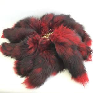 85628add54 10pcs Red Black Real Fox Tail Cosplay Fur Keychain Tassel Handbag ...