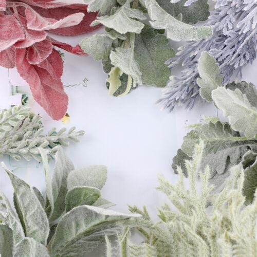 Artificial Green Fructus Plants Flowers Flocked Rabbit Ear Leaf Vivid Decor