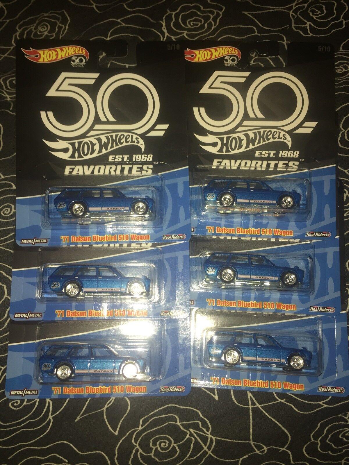 New Hot Wheels 50th Favorites 71 Datsun blueebird 510 Wagon Lot Of 6 Jdm Car Toy