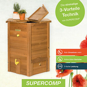 supercomp thermo holz schnell komposter 650 liter plug play spart arbeit ebay. Black Bedroom Furniture Sets. Home Design Ideas