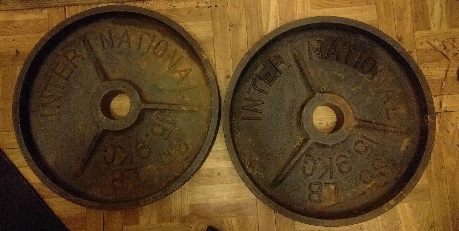 International Pair DEEP DISH RARE Olympic 35 lb Weight Plates Pair International 2