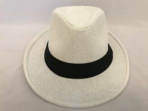 1eeacf98c59 WOMEN Straw Hat Trilby Cuban Cap Summer Beach Sun Panama Short Brim ...