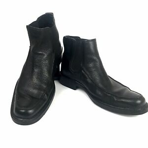 NEW Hush Puppies Carter Mens Leather Chelsea Boots Black Casual Dress Shoes