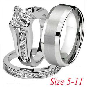 Women-Men-Lovers-Silver-Stainless-Steel-amp-Titanium-Wedding-Band-Ring-Jewelry-Set