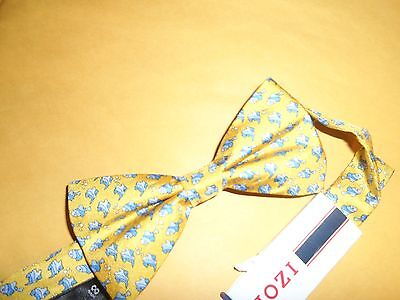 IZOD MEN'S PRE TIED BOW TIE YELLOW MULTI COLOR WITH FISH