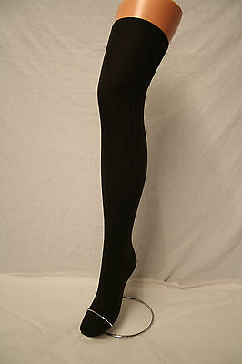 BLACK  SOFT POLYCOTTON STRETCHY OVER THE KNEE ADULT SCHOOLGIRL SOCKS LONG & SEXY