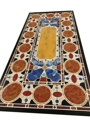 30 x 60 Inches Marble Unique Table Top Black Dinning Table with Carnelian Stone