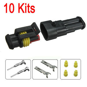 10-Kits-2-Pin-Way-Car-Auto-Sealed-Waterproof-Electrical-Wire-Connector-Plug-Set