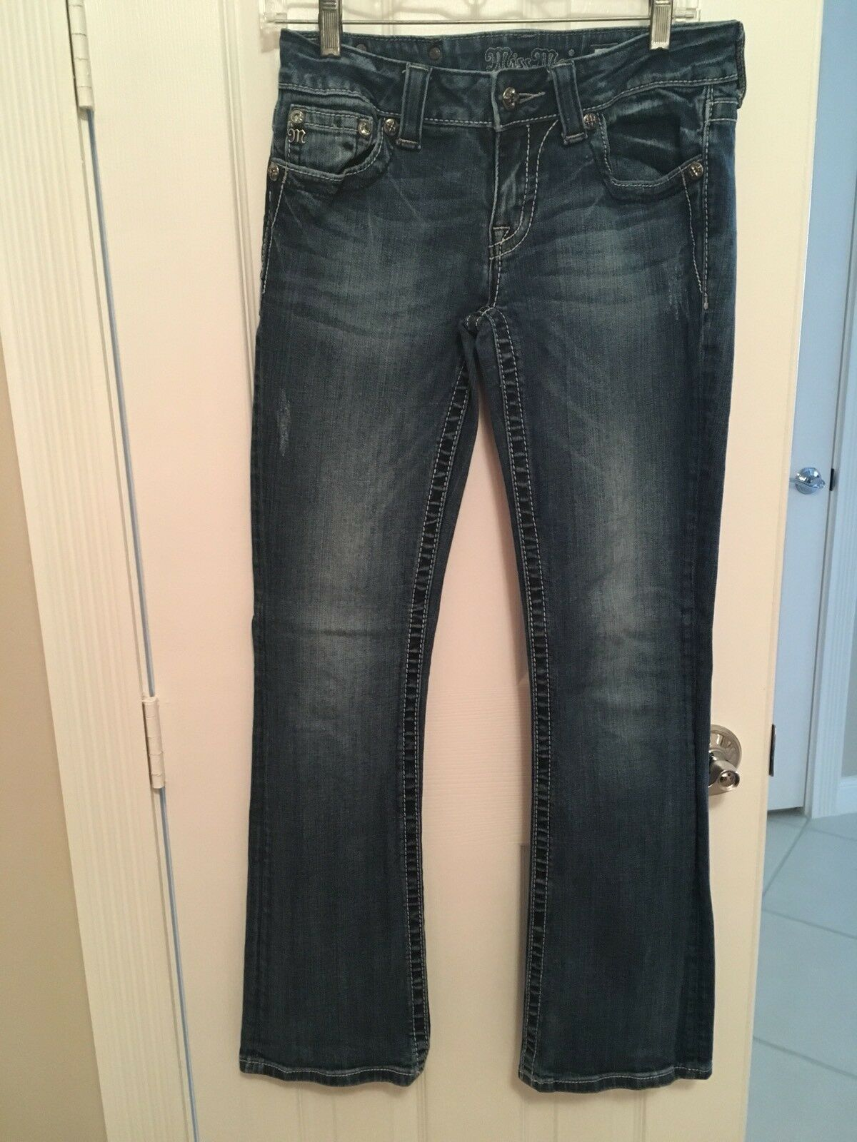 PRE-OWN MISS ME JEANS BOOTCUT  SIZE-28 COLOR-DISTRESSED