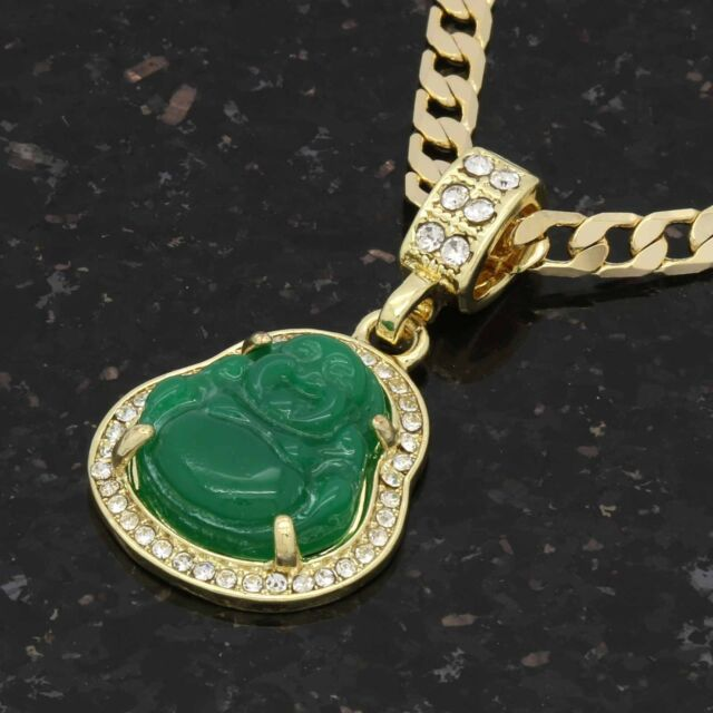 """14K Gold Plated Green Blue Black Red White Buddha 5mm 24/"""" Cuban Necklace Chain"""