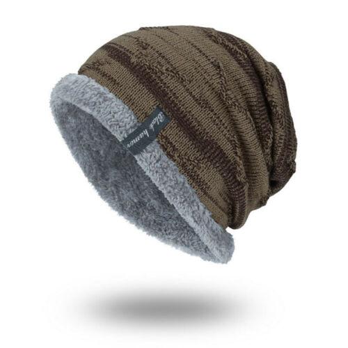Winter Knit Beanie Slouchy Cap Hat Striped Men's Toboggan Ribbed Warm Soft Work
