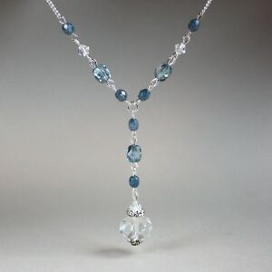 Light-blue-crystal-vintage-silver-chain-wedding-necklace-bridesmaid-accessory