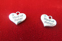 Bulk 15pc maid Of Honor Charms In Antique Silver Style (bc321b)