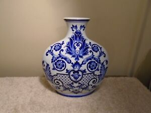 "Vintage Bombay Company Cobalt Blue & White Porcelain Vase - 12"" TALL"