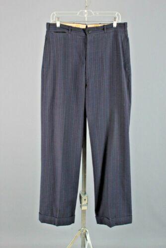 Men's 1930s 1940s Blue Pinstripe Wool Dress Slacks