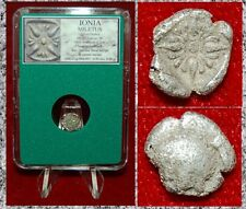 Ancient Greek Coin IONIA MILETUS Forepart Of Lion Floral Ornament Silver Diobol