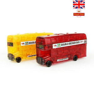 3D Cars DIY Crystal Double Decker Bus Puzzle Jigsaw Toys as Gifts for Kids