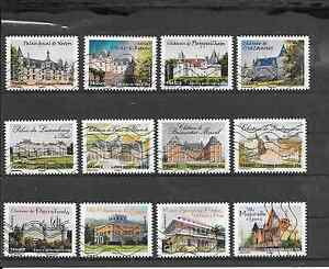 FRANCE-2012-CHATEAUX-ET-DEMEURES-I-I-SERIE-COMPLETE-DE-12-TIMBRES-OBLITERES