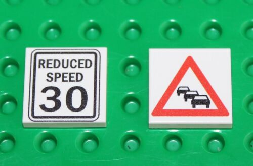 Lego 2x White Tile 2x2 Custom Printed Road Sign NEW!! 3