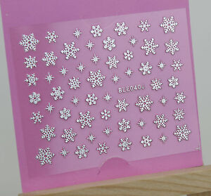 Christmas-SILVER-Snowflakes-Sparkle-Xmas-3D-Nail-Art-Sticker-Decals-UV-Manicure
