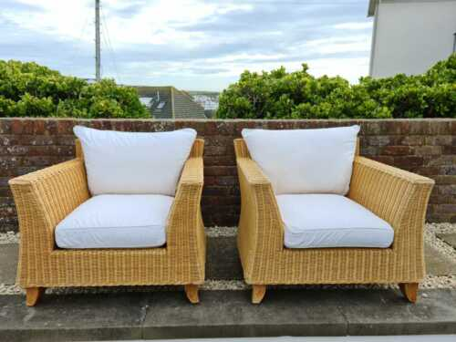 Two Matching Wicker Conservatory Chairs, Super Comfortable, Very Good Condition