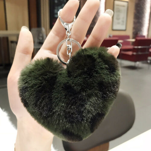 Leopard Print Heart Shaped Plush Women Key Chain Fluffy Bag Accessories Key Ring