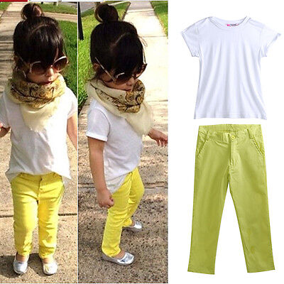 2015 Baby Girls Short White T-Shirt+Pants Two-pieces Outfits Set Clothing 2-7Y