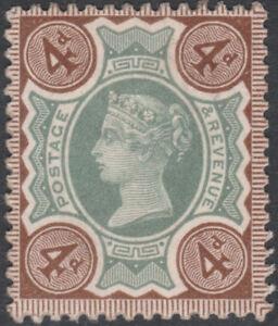 1887-JUBILEE-SG205-4d-GREEN-amp-PURPLE-BROWN-VARIETY-WHITE-IN-034-3-034-CORNERS-UNUSED