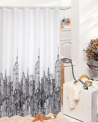Rideau de douche en tissu CIEL 180 x 180 cm inclus anneaux 180x180