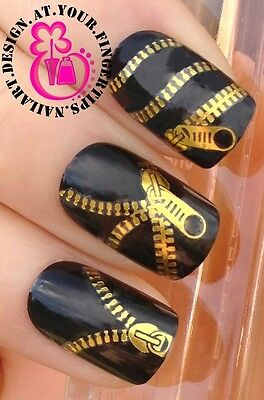 NAIL ART WATER TRANSFERS STICKERS DECALS METALLIC GOLD FUNKY ZIPPER/ZIPS #397