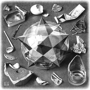 FINE ART PRINT Escher Art Paper Canvas Quality MC Escher /'Sky and Water II/'