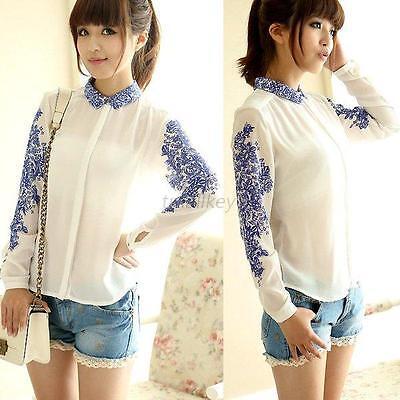 Elegant Women Chiffon Long Sleeve Shirt Top Blouse Leopard Striped T-shirts