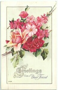 Greetings-Dear-Friend-Red-Roses-Flowers-Embossed-Antique-Postcard-Divided-Back