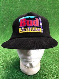 Rare NOS Black Bud Ski Team Corduroy Flat Bill SnapBack Hat Cap Fast Shipping