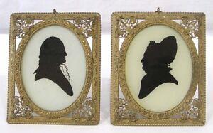 Antique-Pair-Richards-Man-Woman-Portrait-Silhouettes-Ornate-Frames-Germany-1880s
