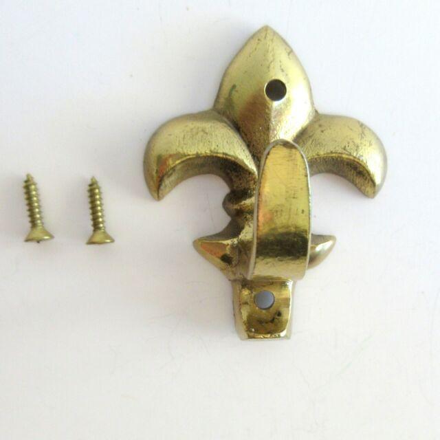 Wall Hook Hanger Fleur de lis Brass with 2 mounting screws