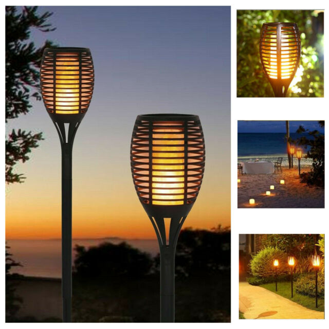 4 X Solar Dancing Flame LED Torch Stake Flickering Outdoor Garden Lights