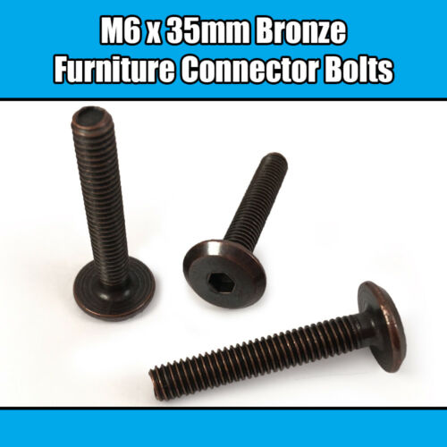 M6 x 35mm Bronze Furniture Connector Bolts Joint Fixing Bed Cot Unit Table Desk