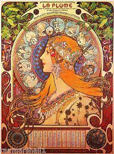 Details About La Plume Vintage French Nouveau France Poster Print Art Adver