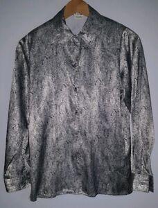 Ladies-Shirt-Size-8-Black-Silver-Viyella-lt-MJ3994