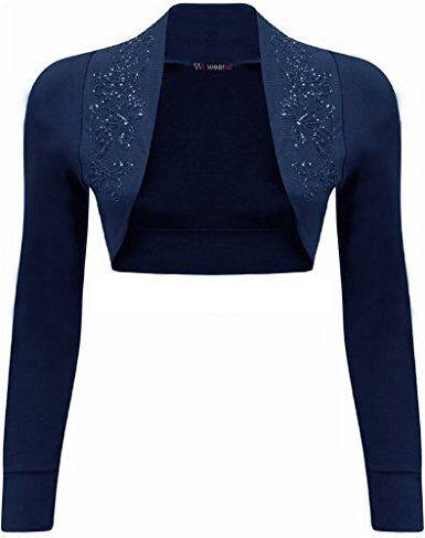 Ladies Long Sleeve Beaded Shrug Women Short Crop Bolero CardiganTop Sizes 8-14