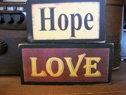 Faith Hope Love Primitive Rustic Handmade Stacking Blocks Wooden Sign Set