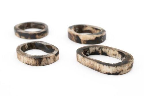 Grey Camel Bone Ring Beads Set of 4 32mm Kenya African Large Hole Handmade