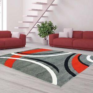 teppich flachflor modern konturenschnitt bogen muster grau rot schwarz sale ebay. Black Bedroom Furniture Sets. Home Design Ideas