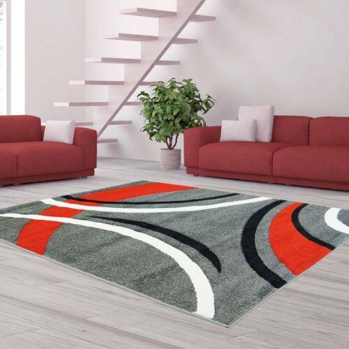 Grau Rot Schwarz /%SALE/% Teppich Flachflor Modern Konturenschnitt Bogen-Muster