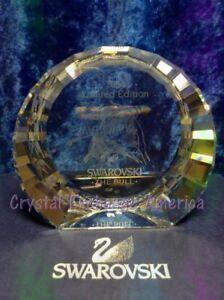 Swarovski Crystal Bull Disc 60mm Paperweight (English).  694624. MIB